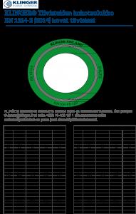Kovien KLINGER-tiivisteiden kokotaulukko EN 1514-2